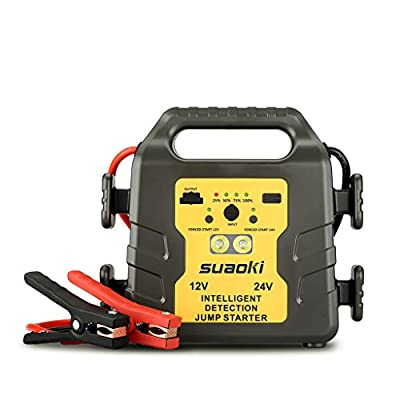 Suaoki 1000A Peak 24000mAh 12V/24V Car Jump Starter Power Bank Auto Battery Pack Booster Charger with LED Light Universal USB Port Advanced Safety Protection for Car, Bus, Motorcycle and Truck