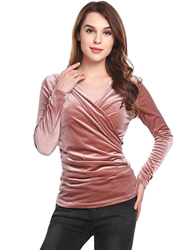 ThinIce Women's Long Sleeve Fitted Deep V-Neck Surplice Tops For Women With Plus size