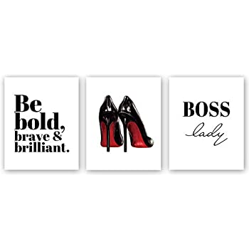 Chsdec Modern Fashion Women Art Painting Inspirational Lettering Art Picture,High Heels Art Print Set of 3(8''x10'') Unframed Minimalist Makeup Art Home Decor