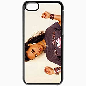 Personalized iPhone 5C Cell phone Case/Cover Skin Alicia Keys Girl Bracelets T Shirt Jewerly Black
