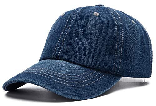 Edoneery Men Women Plain Cotton Adjustable Washed Twill Low Profile Baseball Cap Hat(Dark Blue)