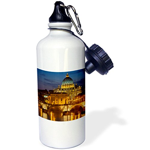3dRose wb_187342_1 River Tiber, Ponte Sant Angelo, St Peters Basilica, Rome, Italy Sports Water Bottle, Multicolor, 21 oz by 3dRose