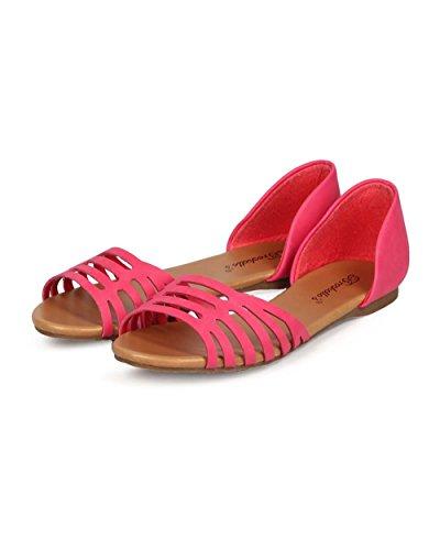 Breckelles Breckelles Ec87 Donna Similpelle Punta Aperta Dorsay Scava Fuori Sandalo Piatto Hot Pink