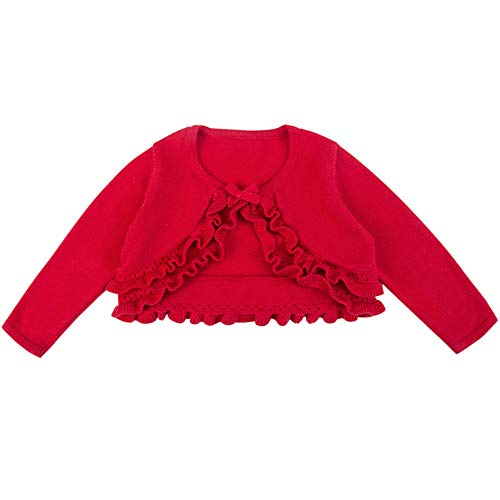 Girl's Knit Long-Sleeved Sweater Children's Woollen Sweater Baby Girl's Open Front Cardigan Red