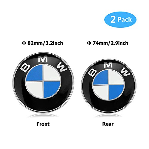 BMW Emblems Hood and Trunk, BMW Emblem Logo Replacement 82mm + 74mm for ALL Models BMW E30 E36 E46 E34 E39 E60 E65 E38 X3 X5 X6 3 4 5 - Trunk Bmw