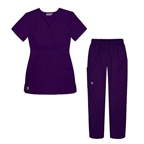 Sivvan Women's Scrub Set - Multi Pocket Cargo Pants & Stylish Mock Wrap Top - S8401 - PRP - XL