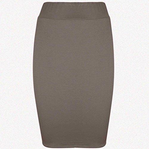Be Jealous - Jupe fuseau pour femmes extensible moulant - Mokka marron chocolat, 48/50