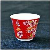 茶杯 花布柄 レッド
