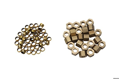 LTWFITTING 5/16-Inch Brass Compression Sleeves Ferrule with 5/16-Inch Compression Nut, Brass Compression Fitting(Pack of - Compression Nut