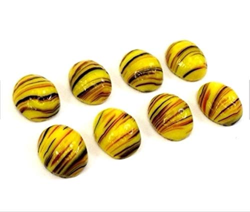 Qty 12 - Vintage 10x8mm Black & Red Tiger Striped Yellow Oval FB Glass CABOCHONS Beads for Jewelry Making, Supply for DIY Beading (Tigers Bicone Crystal Earrings)