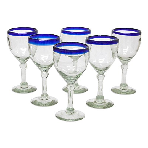 NOVICA Artisan Crafted Recycled Glass Clear Blue Rim Hand Blown Wine Goblets Glasses, 10 oz. 'Acapulco' (set of 6)