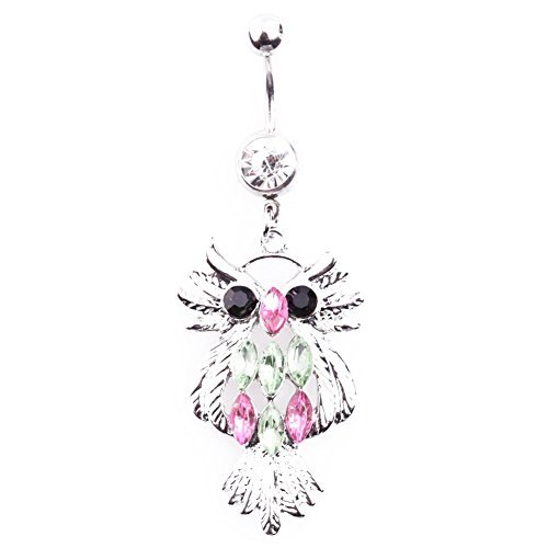 Jocestsyle 1 Pcs Women Girls Artificial Crystal Dangle Belly Button Ring Bar Ring Body Piercing Gift (06 Fashion (Crystal Belly Owl)