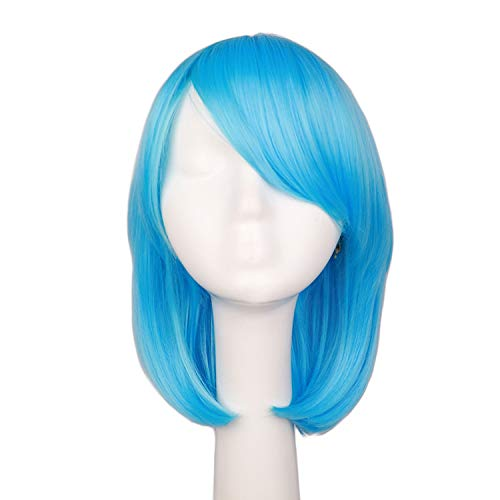 Women Girls Straight Cosplay Wig Costume Party Black White BLue 40 Cm Hair Wigs,x long sky -