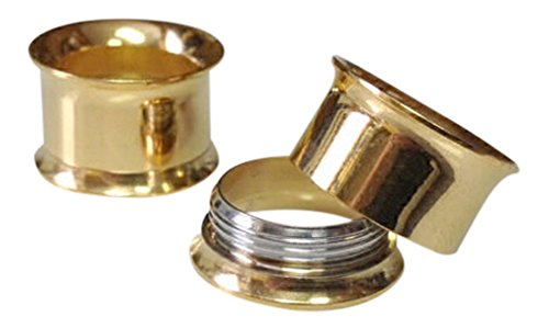 (PAIR Surgical Steel Internally Threaded Double Flare Tunnels Plugs Earlets Gauge Pierced Body Jewelry (Gold - 2g (6mm)))
