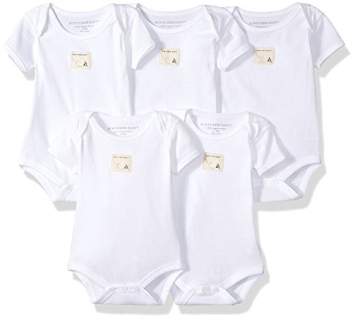 Burt's Bees Baby - Set of 5 Bee Essentials Solid Short Sleeve Bodysuits, 100% Organic Cotton, Cloud (0-3 Months) (Cotton Set 100% Bodysuit)