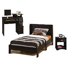 Sauder Beginnings Bedroom Set of 3: Twin Platform Bed with Headboard, Student Desk, and Nightstand
