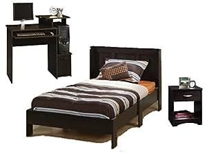 Sauder Beginnings Bedroom Set Of 3 Twin Platform Bed With Headboard Student Desk