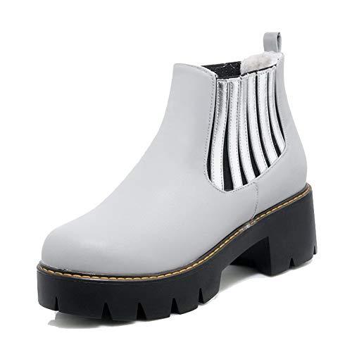 Kitten Closed Low TSDXH122436 Toe Pu Top Heels Gray Women's Boots Color Assorted AalarDom EwCq8xRE