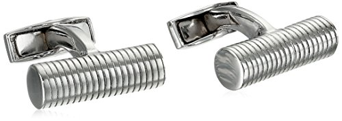 Tateossian Men's Pure Classic Silver Ribbed Cylinder Cuff Links