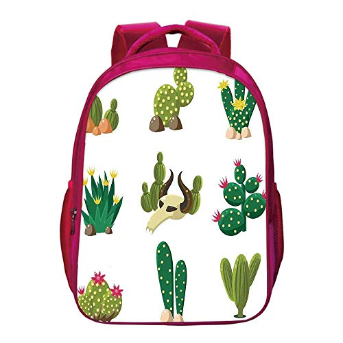 Cactus Decor Printing Backpack,Mexican South Desert Animals Cactus Plants Skeletons Flowers Cartoon Image for Kids Girls,11.8