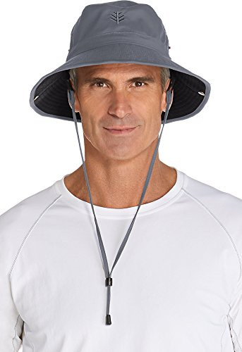 Coolibar UPF 50+ Men's Featherweight Bucket Hat - Sun Protective (Large/X-Large- Carbon/Black) ()