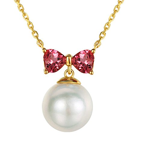 (Epinki 18K Gold Necklace for Women Girls Bow Knot Pearl Necklace Pink Tourmaline Chain Length 40CM)