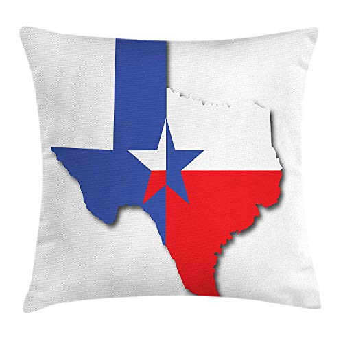 Texas Star Throw Pillow Cushion Cover, Outline of The Texas Map American Southwest Austin Houston City, Decorative Square Accent Pillow Case, 18 X 18 inches, Vermilion White Violet Blue (Chaise Lounge Houston)