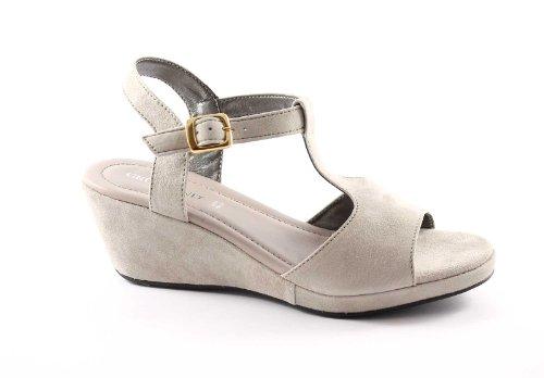 Grünland ALAMBRE SA0465 correa de color beige sandalias de cuña mujer Beige