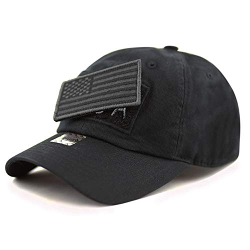 THE HAT DEPOT Low Profile Tactical Operator with USA Flag Patch Buckle Cotton Cap (Black)