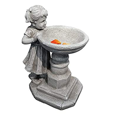 Design Toscano Georgina's Garden Gaze Child at Birdbath Statue : Outdoor Statues : Garden & Outdoor