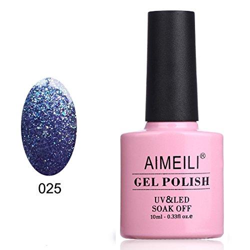 AIMEILI Soak Off UV LED Gel Nail Polish - Blue Raindrops (025) 10ml