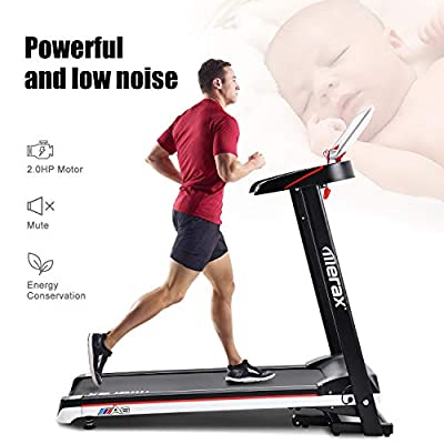 Merax Electric Folding Treadmill Low Noise Power Motorized Running Machine 12.8 KM/H Max Speed Easy Assembly Treadmill for Running & Walking