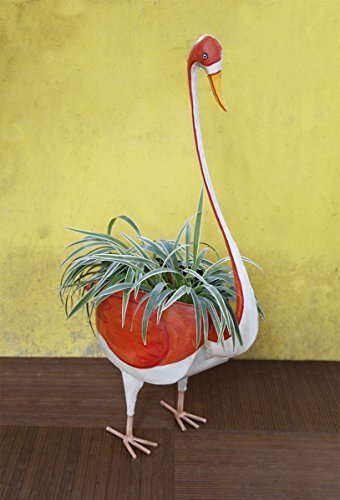 Metal Planter Indoor Outdoor Flower Pot Tree Holder Storage Basket Bin Containers Rack in Yellow Red & White Swan Shaped Garden Lawn Display Ideal Home Garden Party Supplies