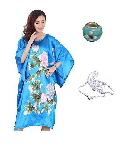 JTC Women's Kimono Robe Silk Dress Pajama Sleepwear 8 Colors (Blue-1)