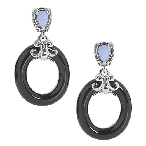 - Carolyn Pollack Sterling Silver Black and Blue Lace Agate Gemstone Dangle Earrings