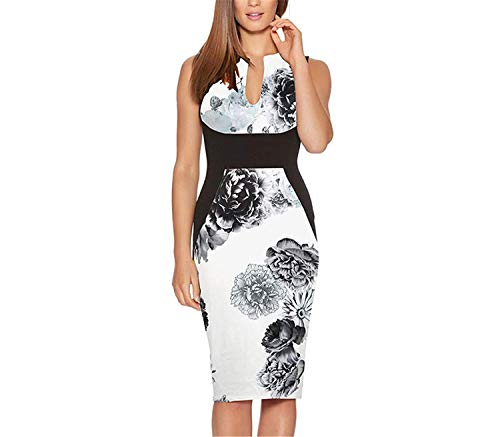 Kaured Stylish Women Costume Vintage Elegant Floral Print Patchwork Sexy Wedding Work Sheath Dress,XX-Large,BlackPrint]()