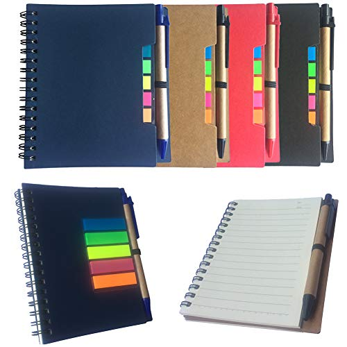 IronBuddy 4Pcs A6 Spiral Notebook Lined Notepad with Pen Holder and Sticky Notes, Coil Notebook for School Office and Meeting(Blue,Black,Red,Brown Cover) by IronBuddy