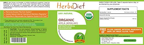 Organic Amla Vegan Capsules Indian Gooseberry 500mg Detox Digestion Healthy Hair (2 Capsules)