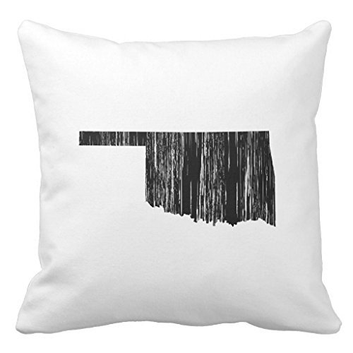 Distressed Oklahoma State Outline Decorative Throw Pillow Cover for Living Room Canvas 16 x 16 Square Throw Pillow with Zipper