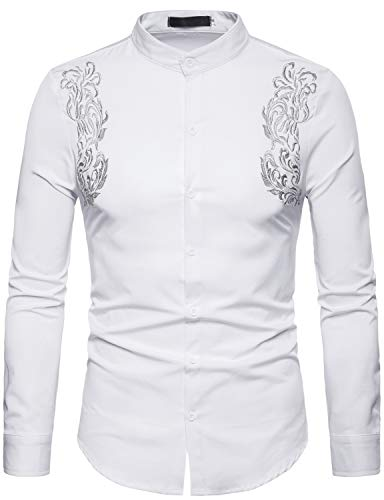 (ZEROYAA Mens Hipster Floral Embroidery Slim Fit Long Sleeve Mandarin Collar Shirts ZHCL09 White X-Large)