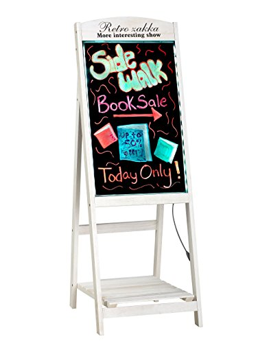 Alpine Industries LED Illuminated Wooden Message Writing Board on an A-Stand plus Shelf 16