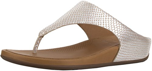 (FitFlop Womens Banda Toepost Slide On Sandal Shoes, Silver Snake, US 10)