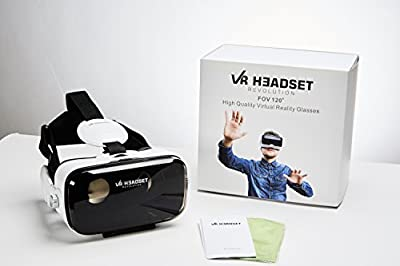 VR Headset Revolution Rare 120 FOV (Frame Of View) Best 3D Virtual Reality Glasses / Goggles For iPhone & Android Phones. Comes With Built-In Headphones, Volume & Control Dial, & Adjustable Lenses!
