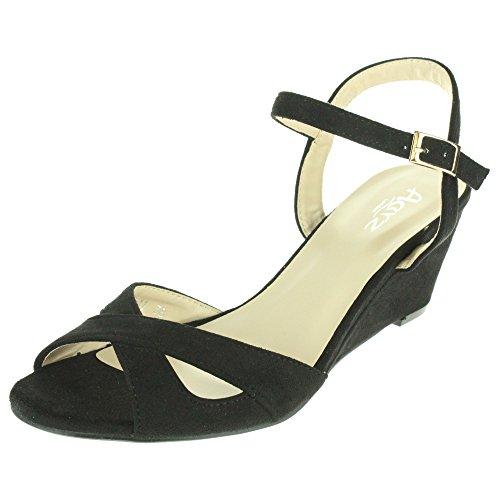Mujer Señoras Correa cruzada Hebilla Cierre Noche Boda Fiesta Peep Toe Casual Tacón de cuña Sandalias Zapatos Tamaño Negro