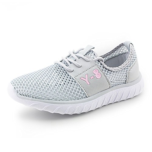 Zapatos de Mujer Tela Primavera Verano Otoño Alpargatas Pisos Zapatos para Caminar Tacón Plano con Cordones Señoras Malla atlética Zapatillas de Deporte Ocasionales (Color : Gris, Tamaño : 40) Gris