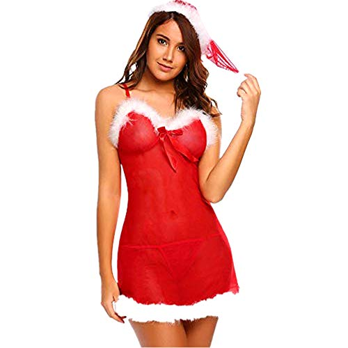 HHmei Strand Bracelets,Women Lace Lingerie Red Christmas Chemise Babydoll Sleepwear Costume Women Miss Santa Suit Dress, Underwear Women Ugly Thermal Sexy Cotton Incontinence Seamless Thong Long
