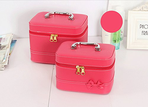HOYOFO Makeup Case for Women Cosmetic Storage Box Makeup Train Case (2 Bags/set) (Red) by HOYOFO