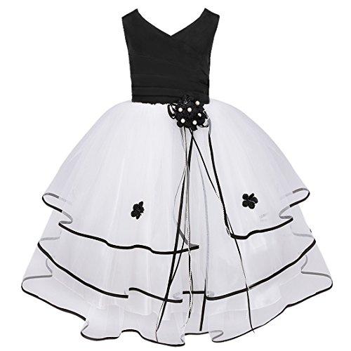 Tiered Satin Dress Black - 3