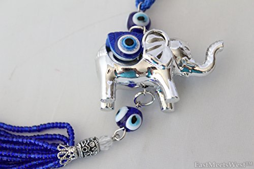 Silver Elephant Blue Glass Bead Evil Eye Feng Shui Glass Bead Turkish Good Lucky Hanging Charm (Turkish Silver Bead)