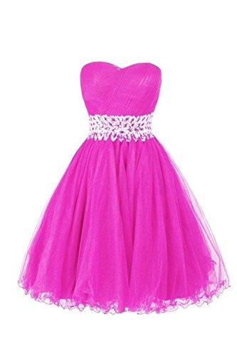 vickyben Mujer Corto De Corazón Recorte a de línea aermel los tuell para vestido de noche vestido de pelota brautjungfer Cocktail Party Vestido Hot Pink
